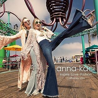 Anna Kaci retro jeans flare pants denim floral lace kimono cardigan bralette boho dress top shorts