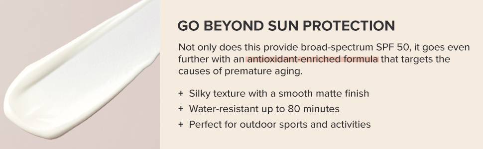 Anti-aging lotion provides broad-spectrum UV sun protection in a matte finish and water-resistant.