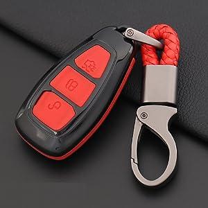 Ontto Fit Für Ford Smart Autoschlüssel Abdeckung Tasche Schlüsseloberteil Abs Schlüsselschutz Schlüsselanhänger Passt Für Mondeo Focus 3 Mk3 St Kuga Fiesta Escape Ecosport Titanium Black Bekleidung