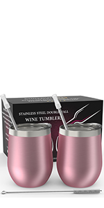 12oz Stainless Steel Wine Tumbler - 2 PACK (Rose Gold)