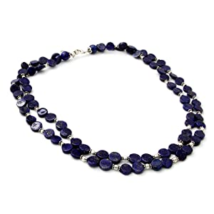 NOVICA Sterling Silver Beaded Necklace,Handmade Jewelry,For Women,Blue Necklace,Shiny Pearls,Girls