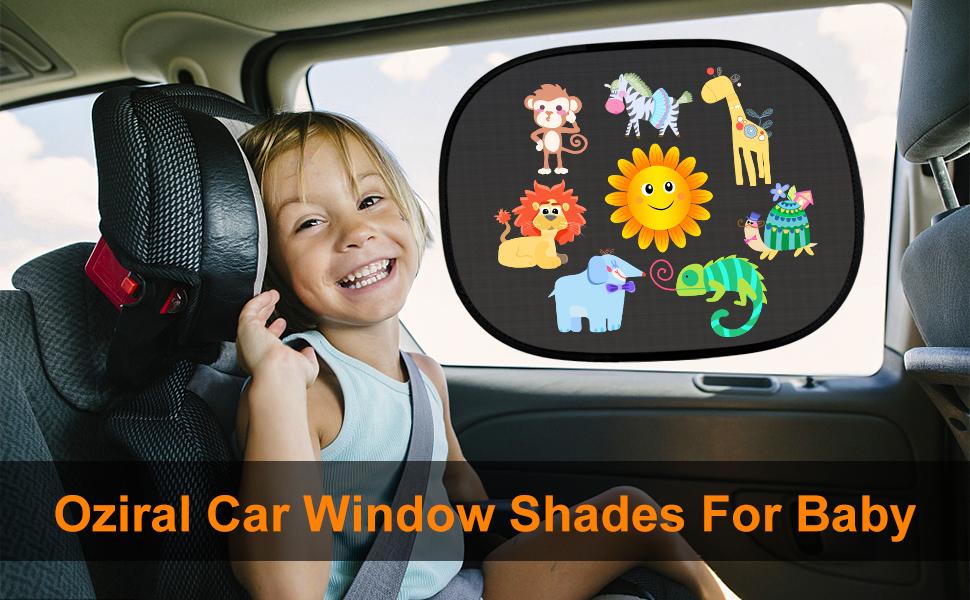 Oziral Car Sun Shade 2 Pack Car Window Shades for Baby UV Rays//Sunlight Protection Self-adhesive Sunshades Side Window Windscreen for Kids Cartoon Pattern