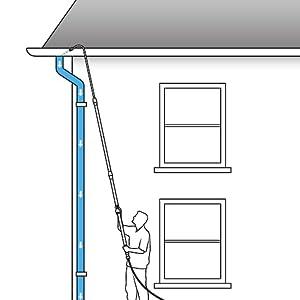 guttermaster gutter master clean chore leaves water wand pole telescoping extending adjustable