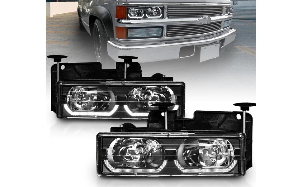 AmeriLite for 2015 2016 2017 Chevy Suburban//Tahoe Black Clear Lens Bumper Fog Lights Pair Passenger and Driver Side