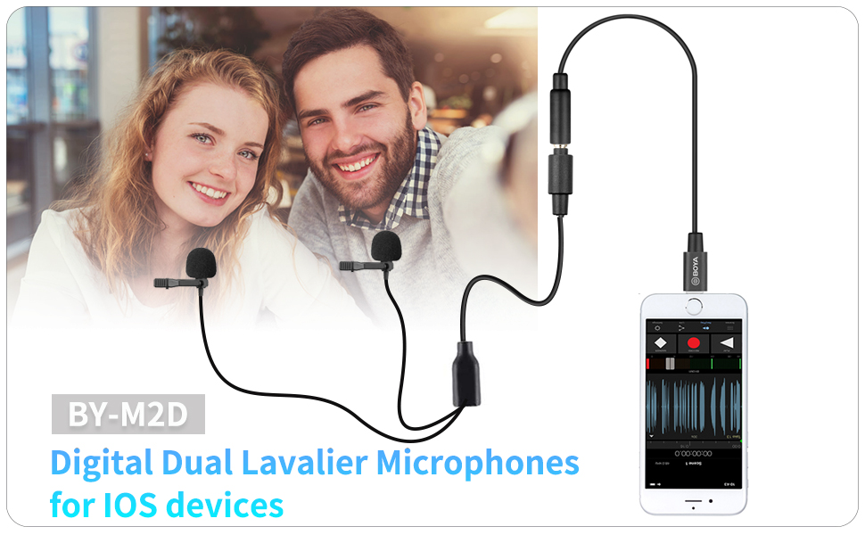 Dual Lavalier Lightning Microphone for IOS iPhone 11 Vlog