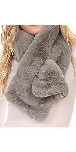 faux fur soft plushy casual elegant mink rabbit knot winter fall wind casual commute neck scarf soft