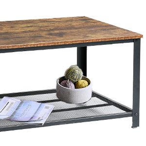 side table easy to assemble TMJ012H stable living room table IBUYKE Industrial Coffee Table with Storage Shelf with metal frame
