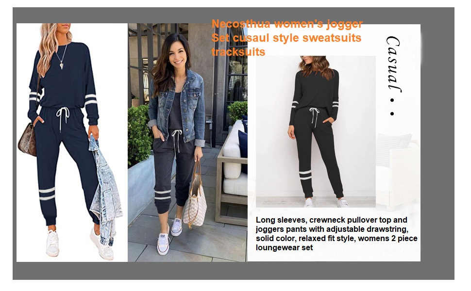 Womens 2 Pieces Long Sleeve Loungewear Sweatsuit Sets Crewneck Outfits