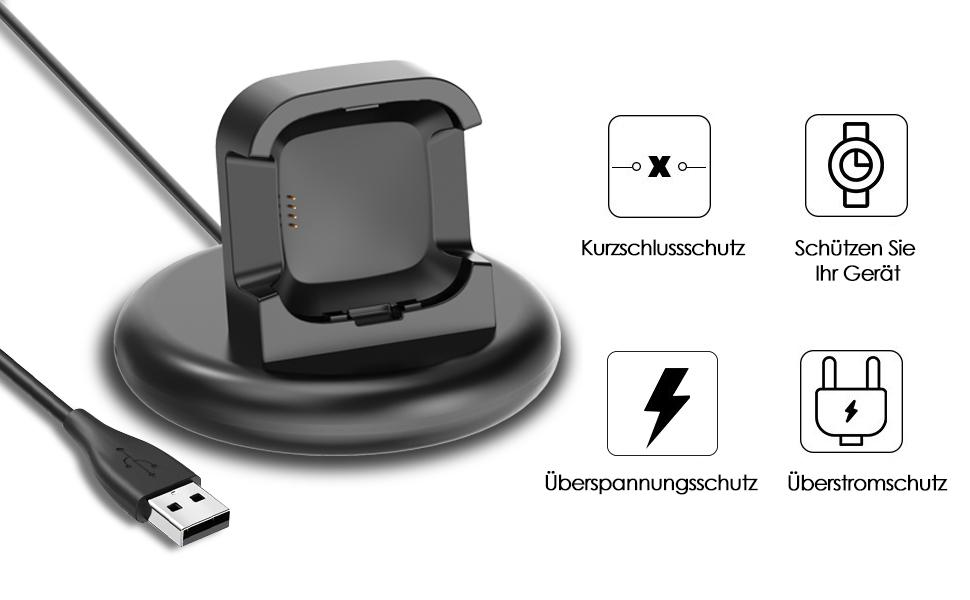 Ezco Ladegerät Kompatibel Mit Fitbit Versa 2 Ladekabel Elektronik