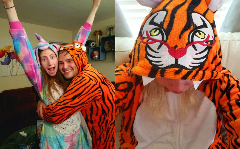 Adult Men Women Tiger Onesie Pajamas Plus Size Halloween Costumes Christmas Onsie Pjs XS--2XL