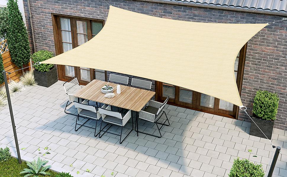 SONGMICS 2 x 3 m Vela Solar, Resistente al Agua Más que 1000 mm, 93% Protección UV Vela Solar en Poliéster Resistente a Desgarro y Intemperie, para Patio de Jardín Terraza Camping,