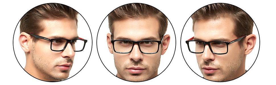OCCI CHIARI Mens Rectangle Fashion Stylish Acetate Eyewear Frame With Clear Lens 51mm Black