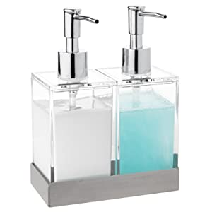 Acrylic Twin Liquid Soap and Lotion Dispenser Set with Caddy - Double Soap Dispenser for Kitchen