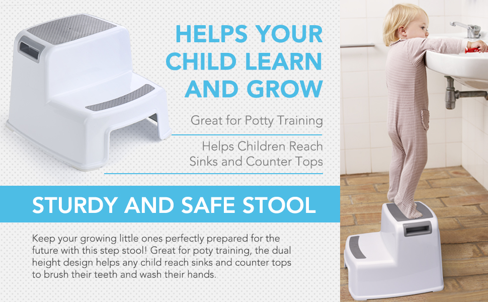 ACKO 2 Step Stool with Slip Resistant Soft Grip for Safety as Bathroom Toilet Potty Training  Stool
