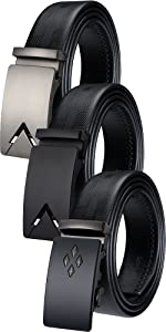 mens belt set luxury gift black leather sliding buckle ratchet leather automatic buckle large size