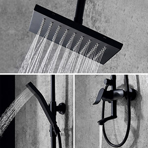 square exposed shower set