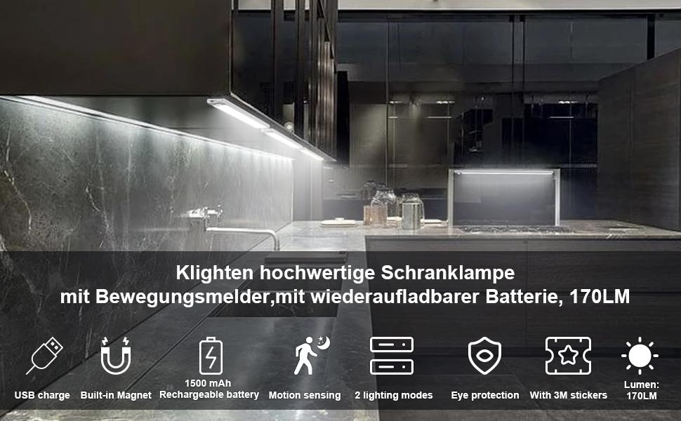 Klighten 2er Pack Schrankbeleuchtung mit Bewegungsmelder,170LM,Magnetisch// 3M Doppelaufkleber Auto//ON//OFF,USB Wiederaufladbar,LED Schrankleuchten f/ür Schrank Treppen Flur K/üche,3200K Warmwei/ß