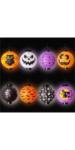 8 Halloween Decorations Paper Lanterns