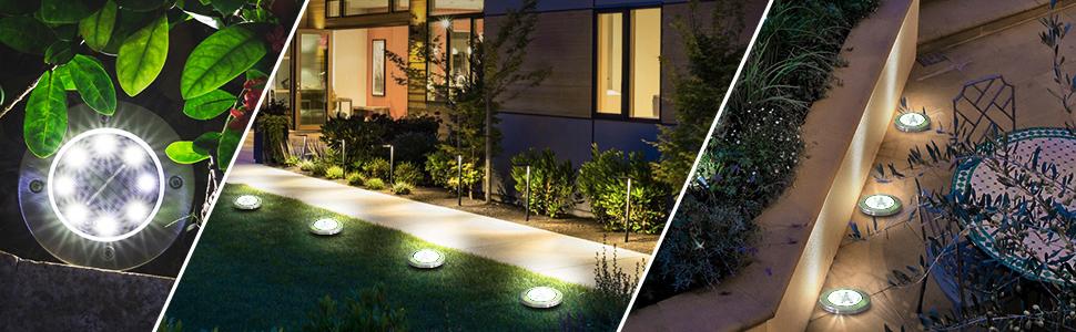 Luces de Tierra Solares,Lacyie 8 LED Lampara Solar Exterior Luz solar Jardin Camino de Paisaje Impermeable IP65 Balizas Solares Exterior Jardín Luces Enterrada Decoración para Patio Lawn (Blanco 4Pcs): Amazon.es: Iluminación