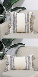tufted tassels boho throw pillowcover decorative