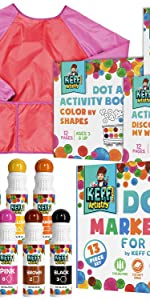 Washable Markers 13 Piece Dot Art Paint Kit Pack for Kids with Coloring Books and Apron, Non Toxic