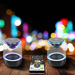 TWS technology  [2 Pack] Bluetooth Portable Speaker, True Wireless Stereo Speakers, Crystal Clear Stereo Sound, Rich Bass, 100 Ft Wireless Range, Microphone, LED Light Show, TF Card, Aux in, Mini Small Pocket Size¡ 0da903bc 05a4 4468 9858 76eed603eb8f