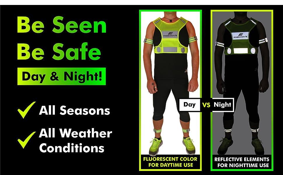 FREEMOVE safety reflective vest running gear hi viz vest safety gear night running men women bands