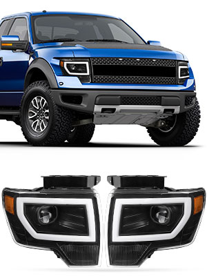 led drl tube projector headlights for Ford f150 2009 2010 2011 2012 2013 2014