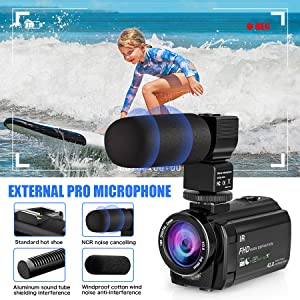external microphone  Video Camera Camcorder with Microphone, VideoSky 42MP HD 1080P 30FPS Digital Recording Camcorders for YouTube 64 GB Memory Card Vlogging IR Night Webcam Time-Lapse Slow Motion,Touch Screen, Lens Hood 0db16ae5 1ce6 4e1f 8149 a9acdff7eba2