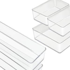 Clear Drawer Organizer 5-Piece Set
