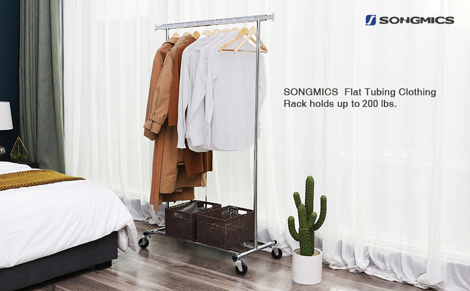 SONGMICS Clothes Rack on Wheels, Heavy Duty Garment Rack with Extendable Hanging Rail, Holds up to 200 lb, Collapsible Clothing Rack UHSR13S