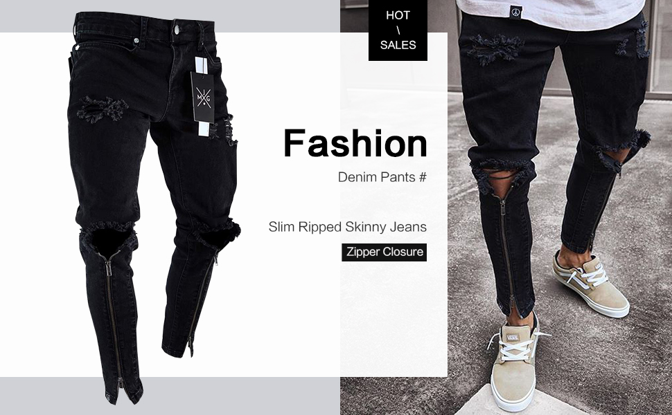 skinny ripped jeans for men joggers biker distressed zipper destroyed holes hip hop stretch slim fit