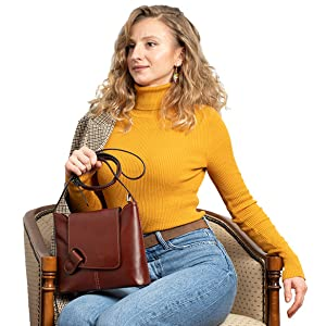 crossbody brown leather bag, crossbody leather bag made in Italy, crossbody bag for women Italian