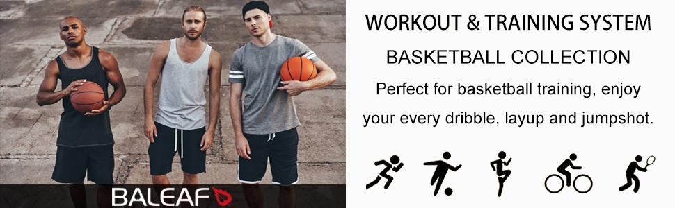 Baleaf Mens Athletic Basketball Training Shorts Zipper Pockets