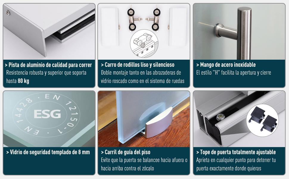 HOMCOM Puerta Corrediza de Vidrio Puerta Corredera Deslizante de Cristal Seguridad 102,5x205 cm: Amazon.es: Hogar
