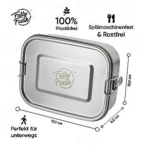 Fully Fresh! Edelstahl Lunchbox Büro 1000ml