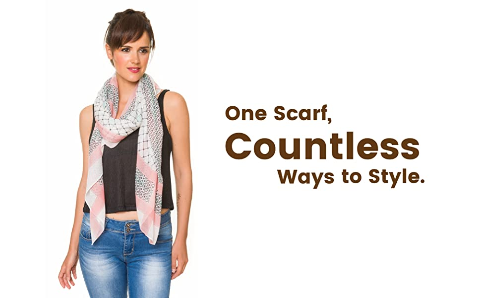 Scarf for Women Lightweight Geometric Fashion Fall Winter Scarves Shawl Wrap