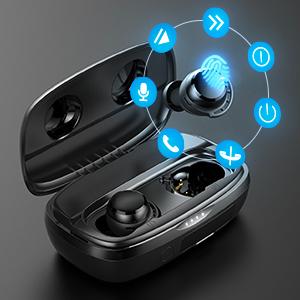 earpods  phone calls bass in bifee go working out computer wireless earphones waterproof earbuds
