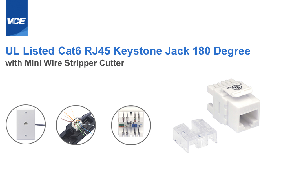 Amazon Com Ul Listed Vce 10 Pack Cat6 180 Degree Keystone Jack Tool Free Keystone Jack And Mini Wire Stripper Cutter Combo Industrial Scientific