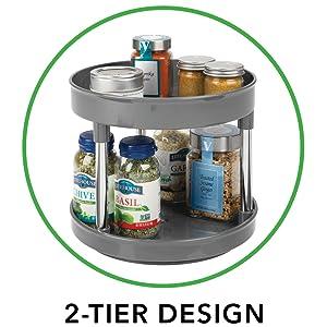 Magent Lazy Susan Bandeja giratoria Contenedor de almacenamiento de pl/ástico Armario dividido Organizador giratorio para condimentos especias y utensilios peque/ños