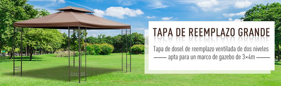 Outsunny Cubierta Superior Reemplazo para Toldo de Repuesto al Aire Libre Transpirable con 8 Agujeros Patio Jardín Playa Camping Boda Fiesta 3x4m Color Marrón: Amazon.es: Jardín
