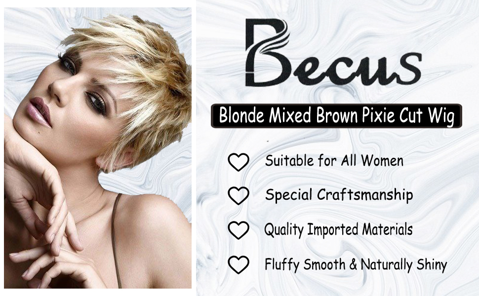 BECUS Pixie Cut Wig Short Fluffy Synthetic Ash Blonde