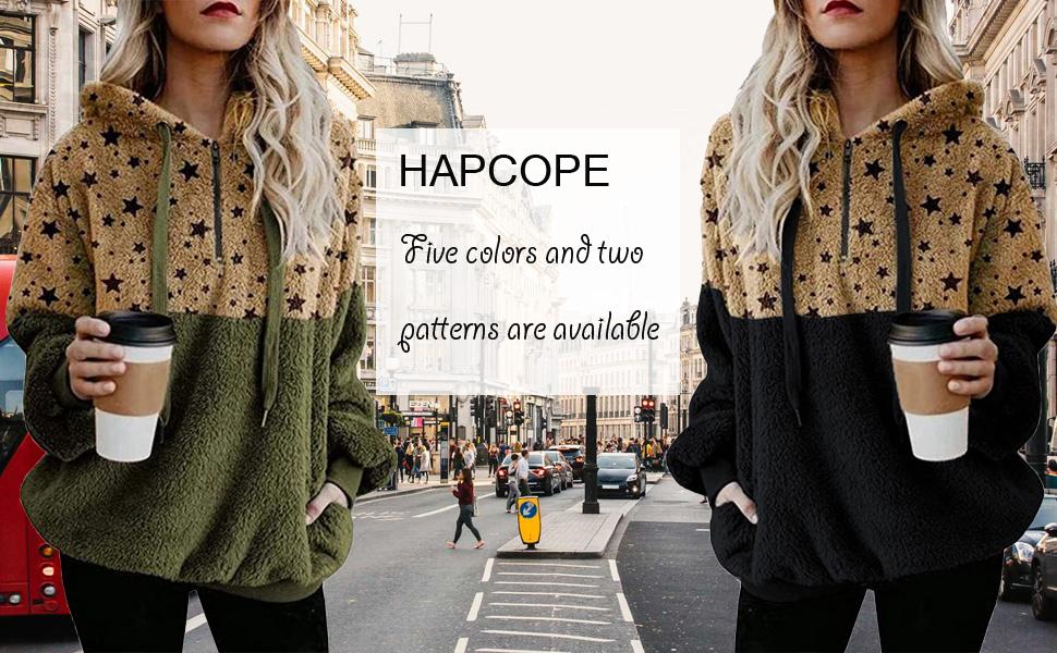 Women's Sherpa Pullover Fuzzy Fleece Sweatshirt Oversized Hoodies Outwear