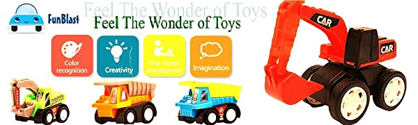 FunBlast Toys, Toys & Games, Unbreakable Toys, toys combo, construction vehicles,  bus toy