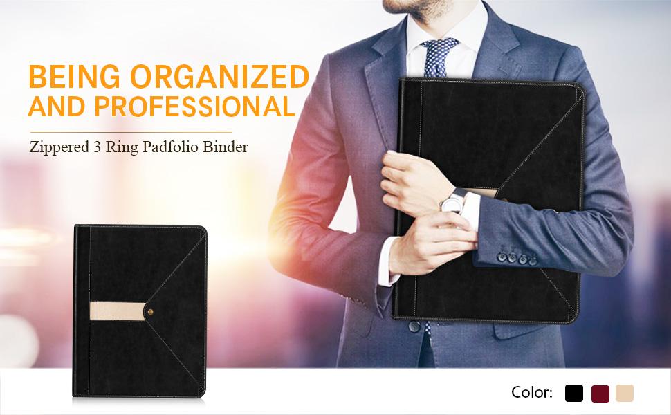 Toplive Zipper Padfolio Binder