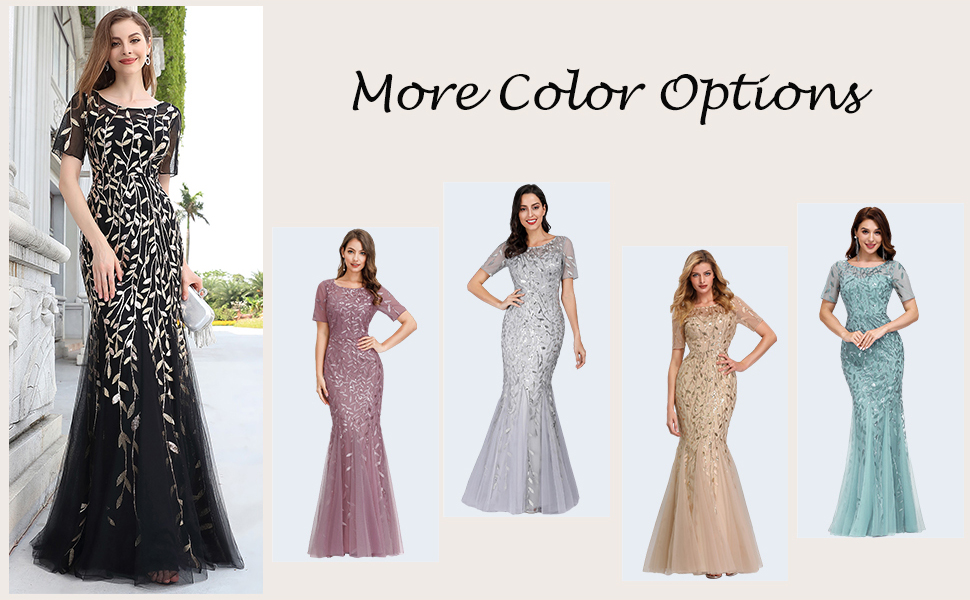 gold sequin evening party dress mermaid prom gown for women