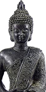 Meditating Seated Buddha Statue Figurine with Rustic