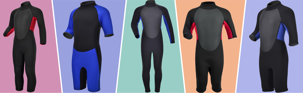 Kids Wetsuit Shorty/Full 3mm and 2mm Neoprene One Piece Boys/Girls Thermal Swimsuit