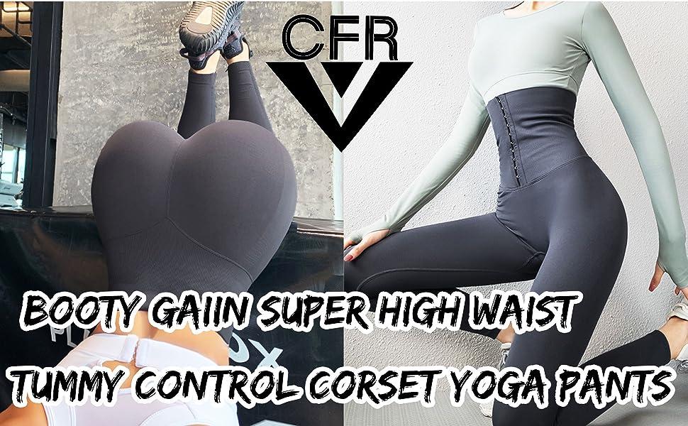 Super High Waist Leggings for Women with Adjustable Tummy Control Waist Cincher Corset Yoga Pants