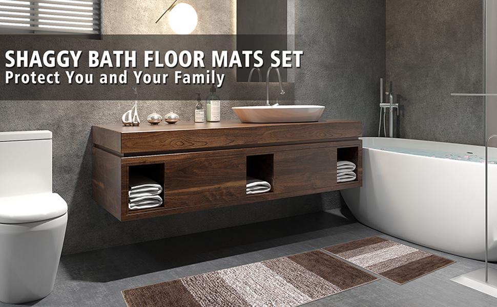 brown bath mats